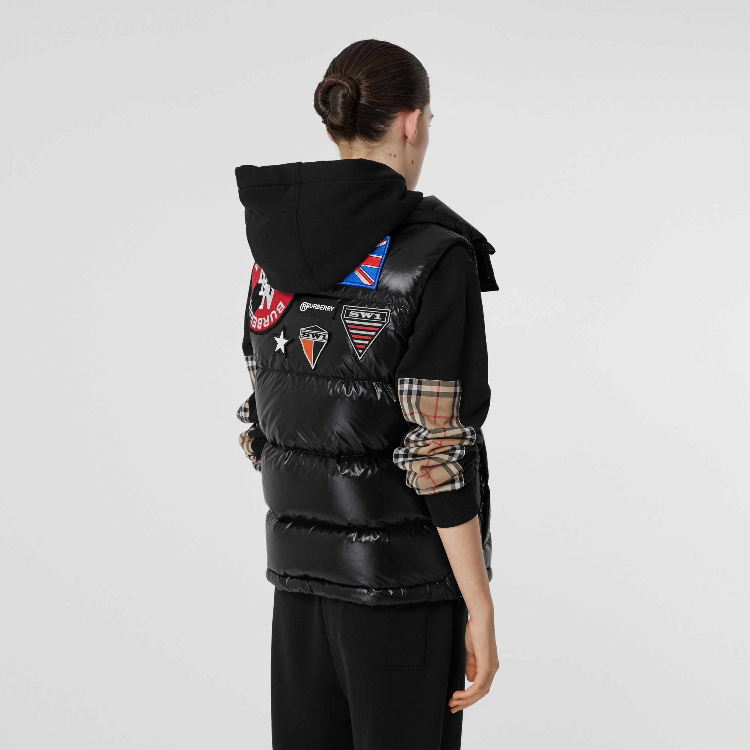 Logo Graphic Puffer Gilet in Black - Women | Burberry - 3