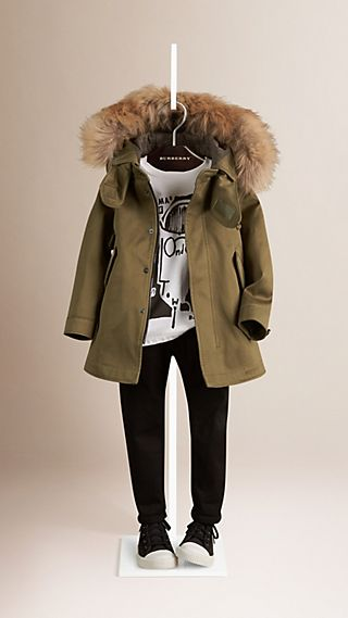 Cotton Parka with Fur Trim Hood and Warmer