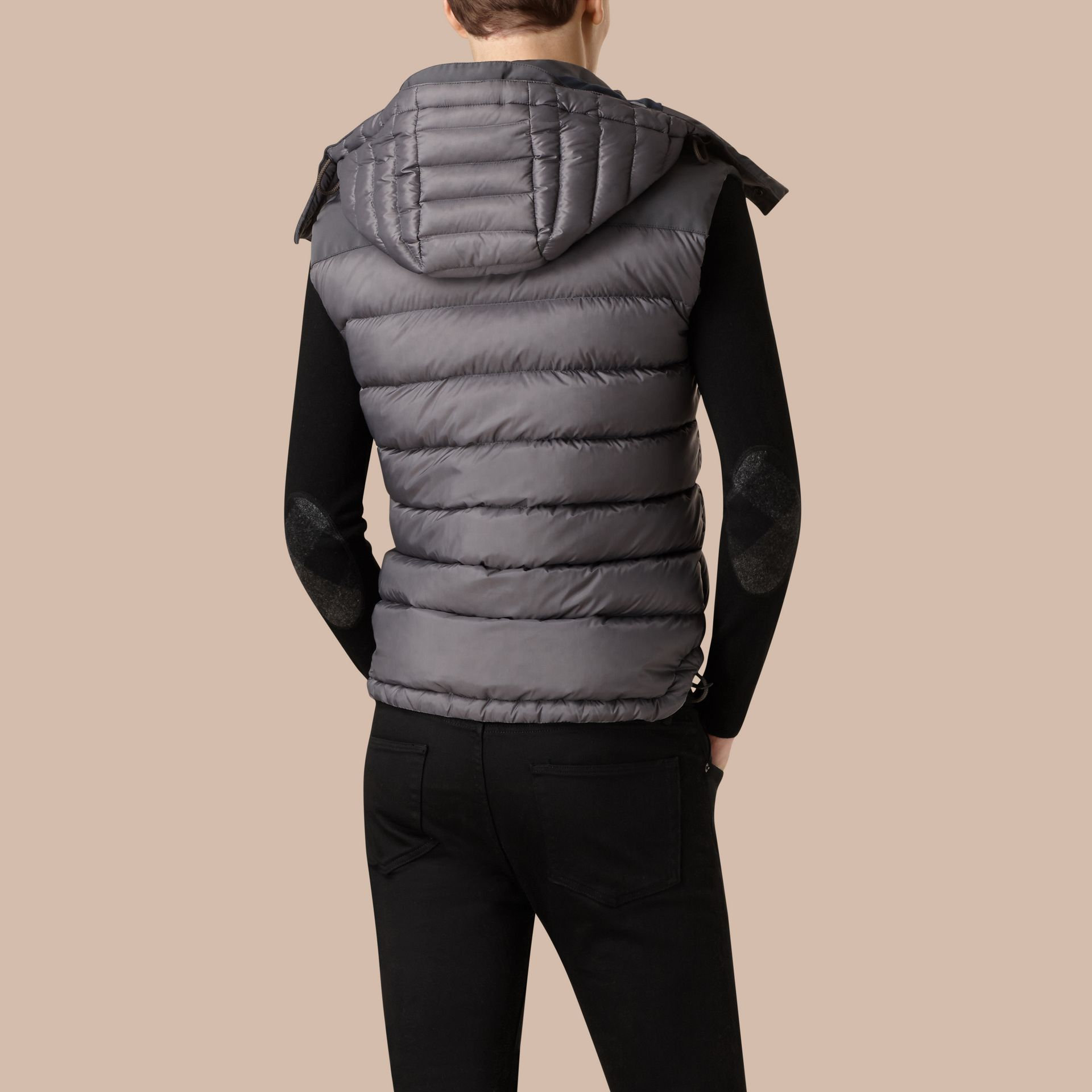 Storm grey Down-filled Gilet with Detachable Hood - gallery image 3