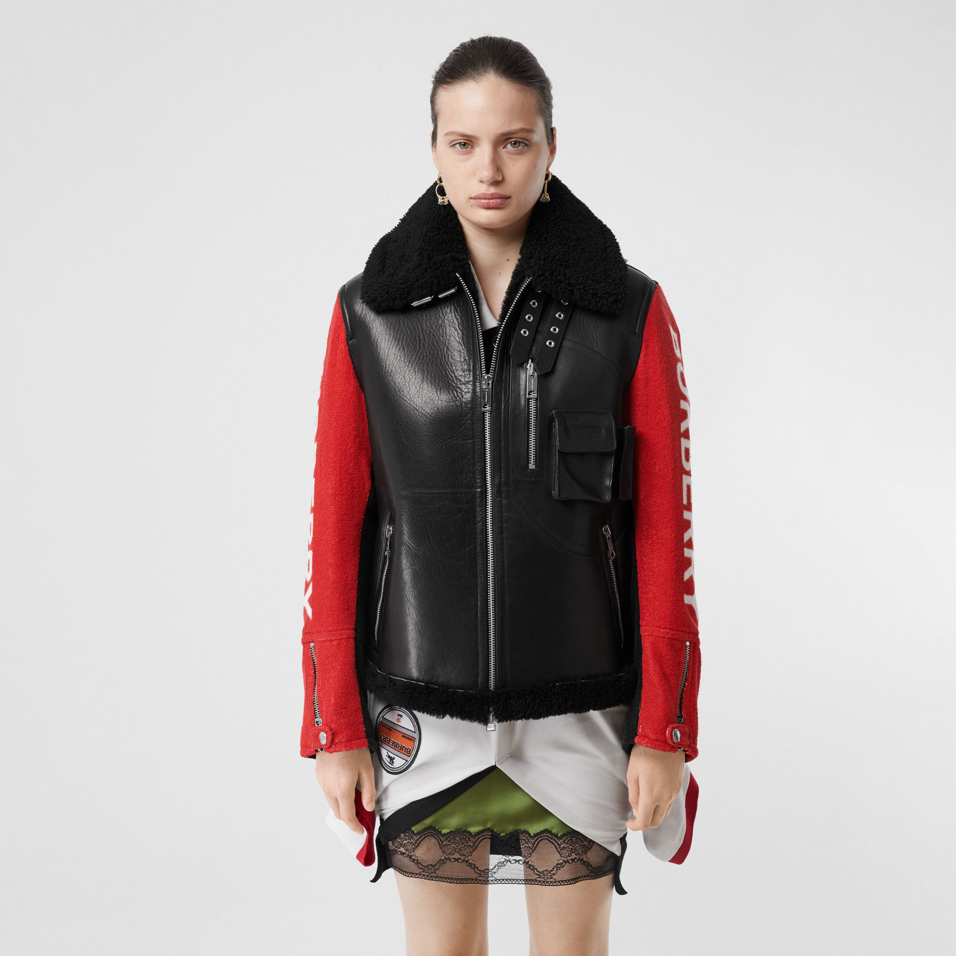 Contrast Sleeve Leather and Shearling Jacket in Black - Women | Burberry - gallery image 5