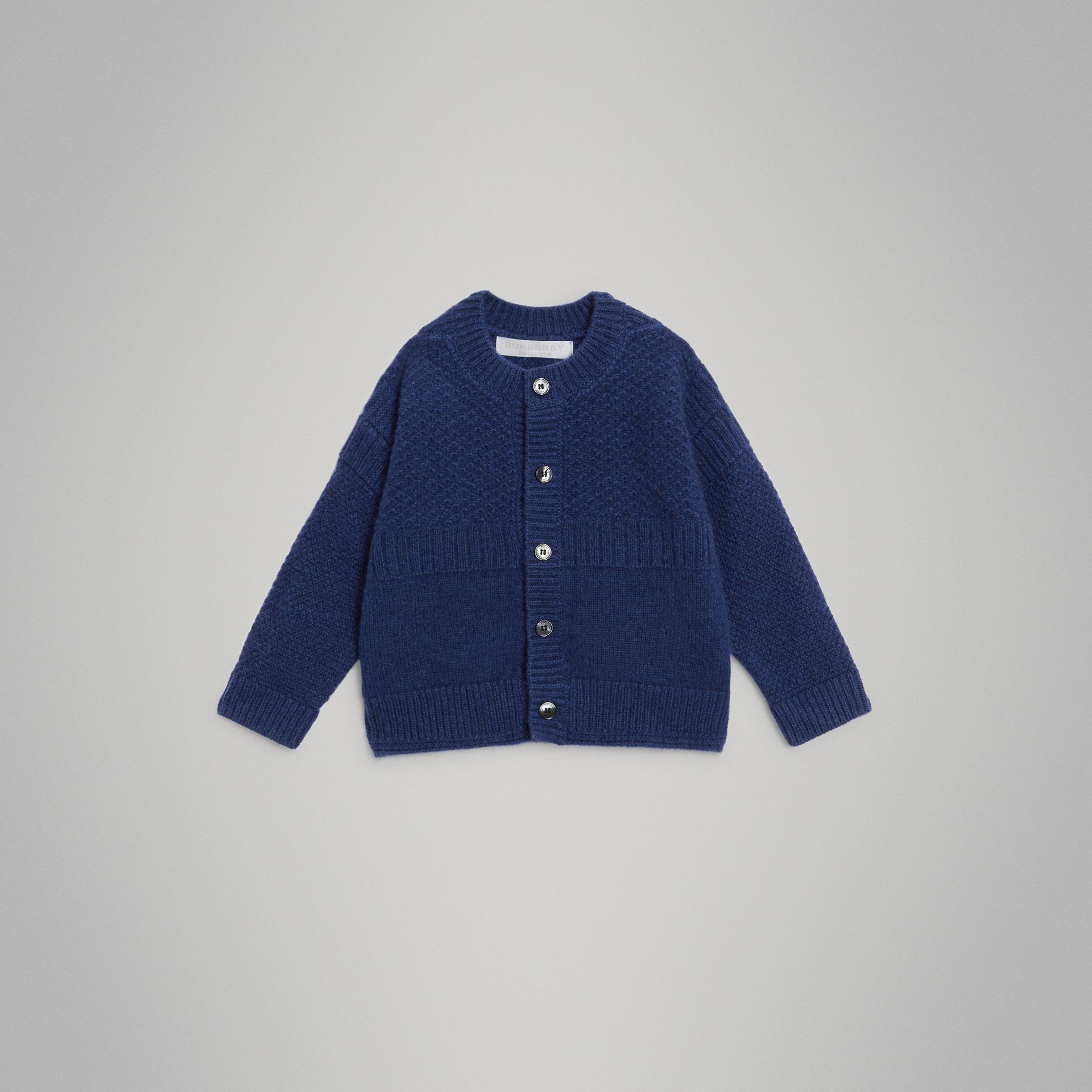 Cashmere and Cotton Three-piece Baby Gift Set in Bright Navy - Children | Burberry - gallery image 5