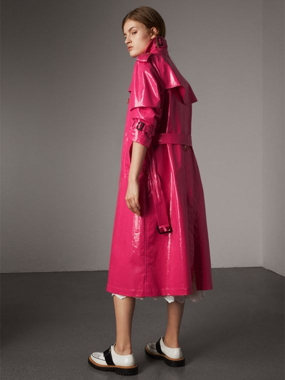 Laminated Cotton Trench Coat in Neon Pink - Women | Burberry - cell image 2