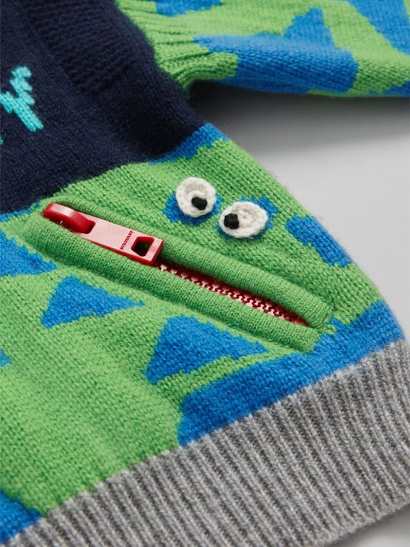 Monster Detail Intarsia Cashmere Sweater in Navy - Children | Burberry Canada - cell image 1