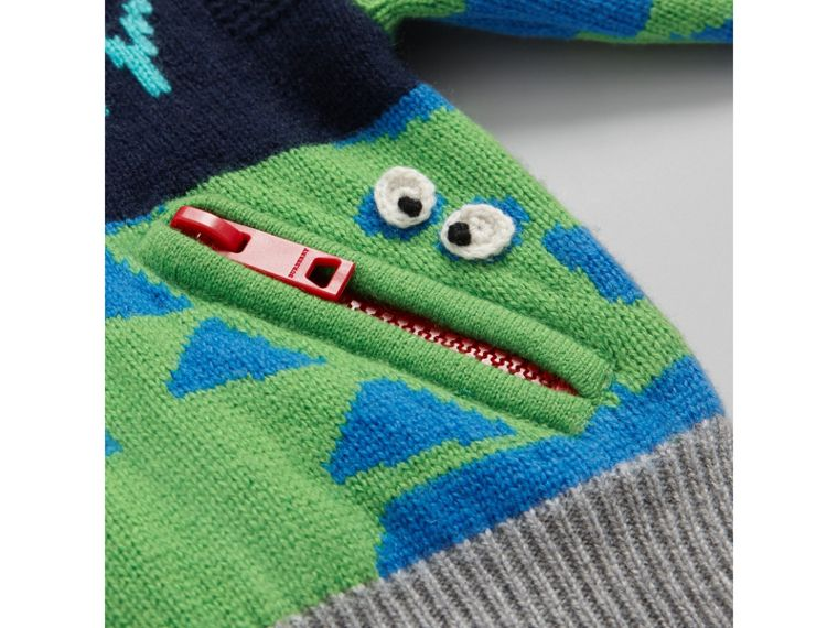 Monster Detail Intarsia Cashmere Sweater in Navy | Burberry - cell image 1