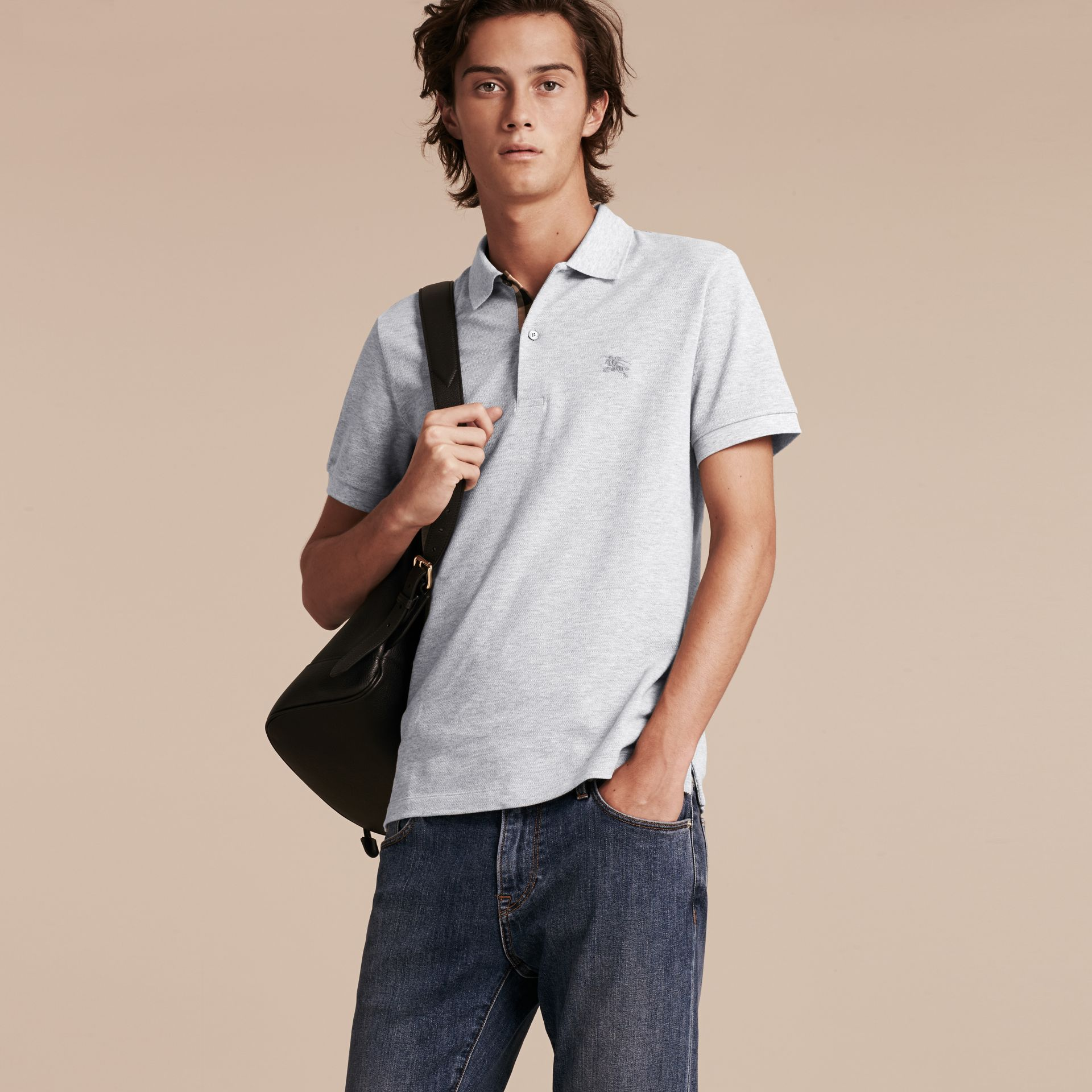Check Placket Cotton Piqué Polo Shirt in Pale Grey Melange - Men | Burberry Canada - gallery image 2