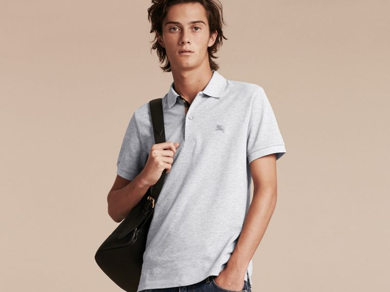 Check Placket Cotton Piqué Polo Shirt in Pale Grey Melange - Men | Burberry Canada - cell image 1