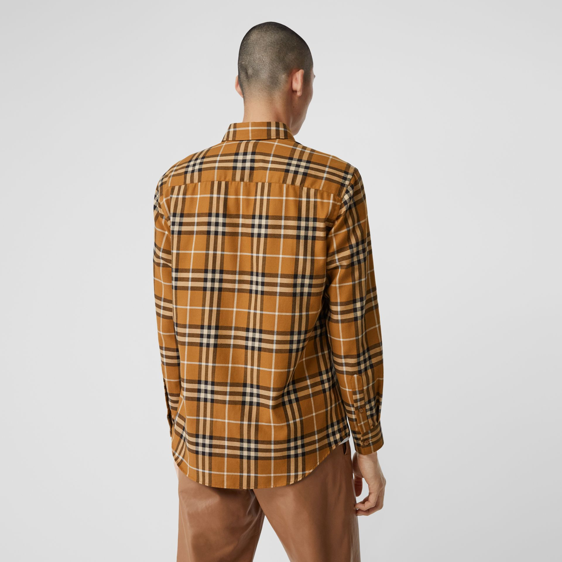 Vintage Check Cotton Flannel Shirt in Warm Walnut - Men | Burberry United Kingdom - gallery image 2