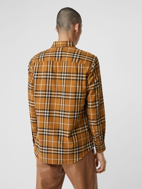 Vintage Check Cotton Flannel Shirt in Warm Walnut - Men | Burberry United Kingdom - cell image 2