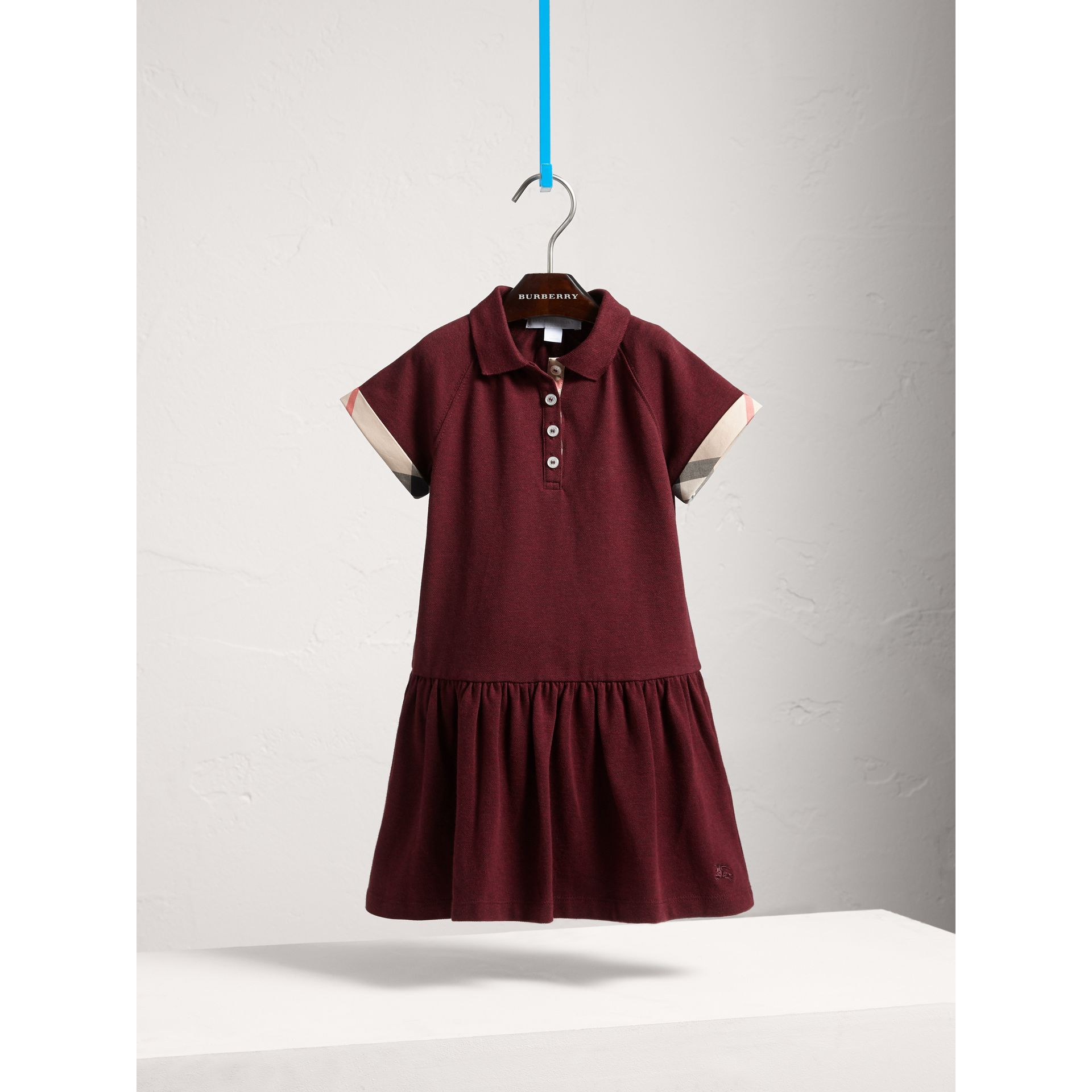 Dropped-waist Stretch Cotton Piqué Dress in Burgundy Melange - Girl | Burberry - gallery image 3