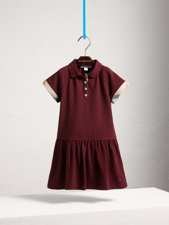 Dropped-waist Stretch Cotton Piqué Dress in Burgundy Melange - Girl | Burberry - cell image 2