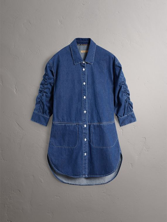 Japanese Cotton Shirt Dress in Light Indigo - Women | Burberry - cell image 3