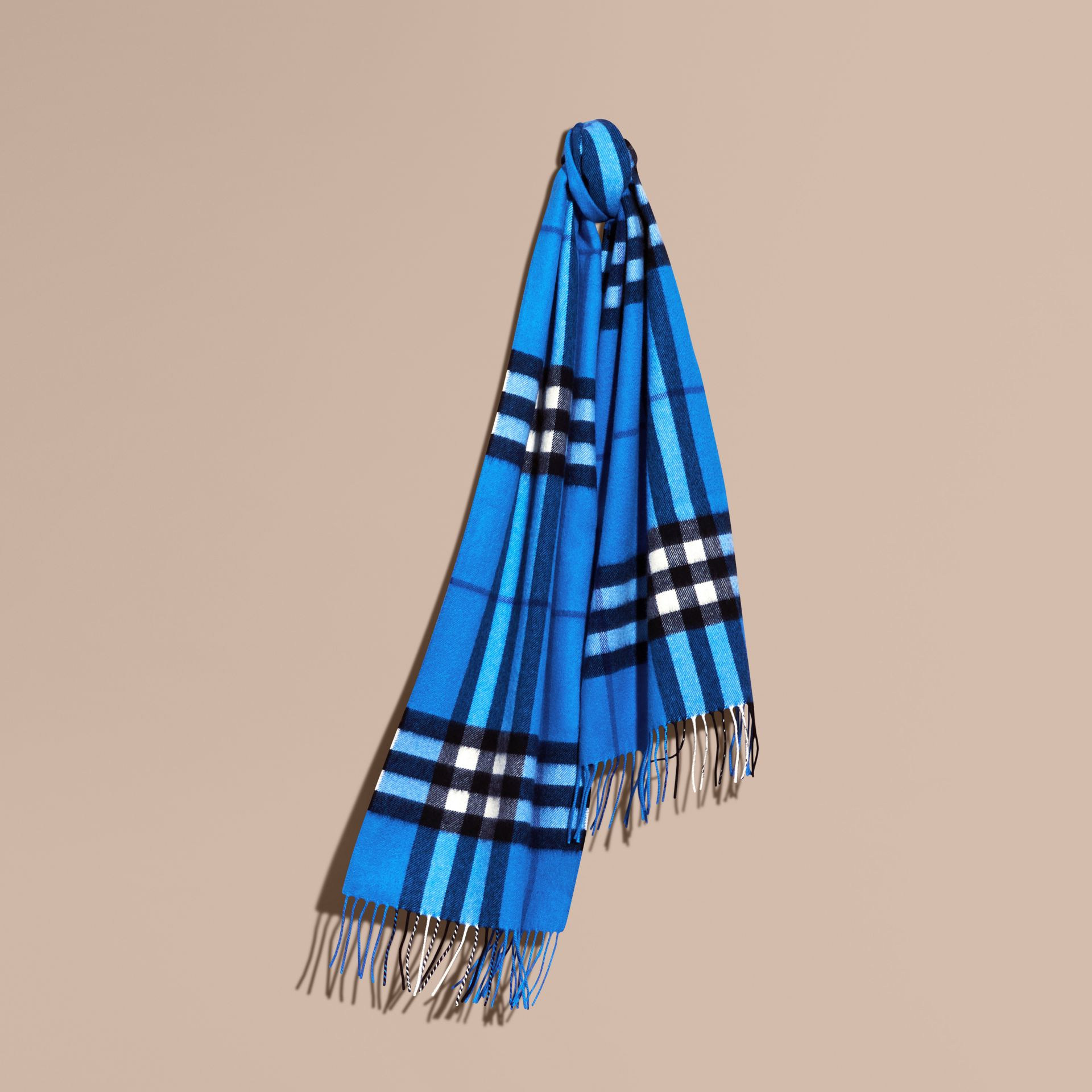 The Classic Cashmere Scarf in Check  Bright Cornflower Blue - gallery image 6