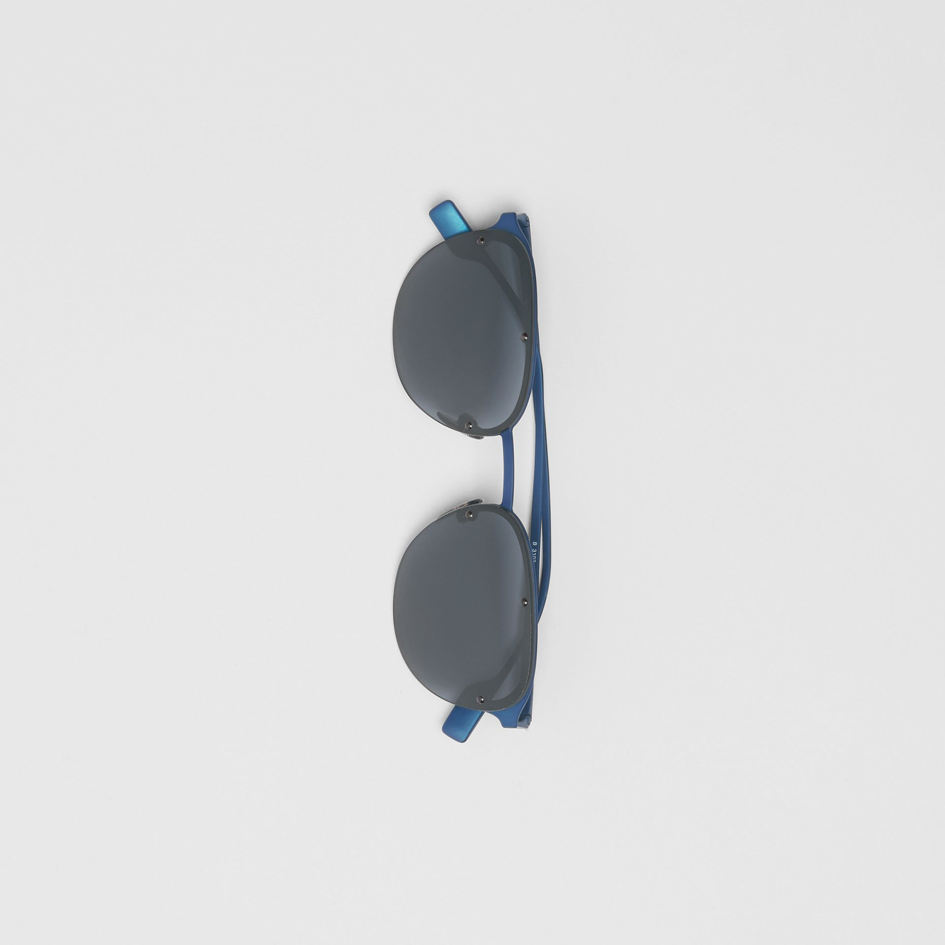 Round Frame Sunglasses in Blue - Men | Burberry - gallery image 3