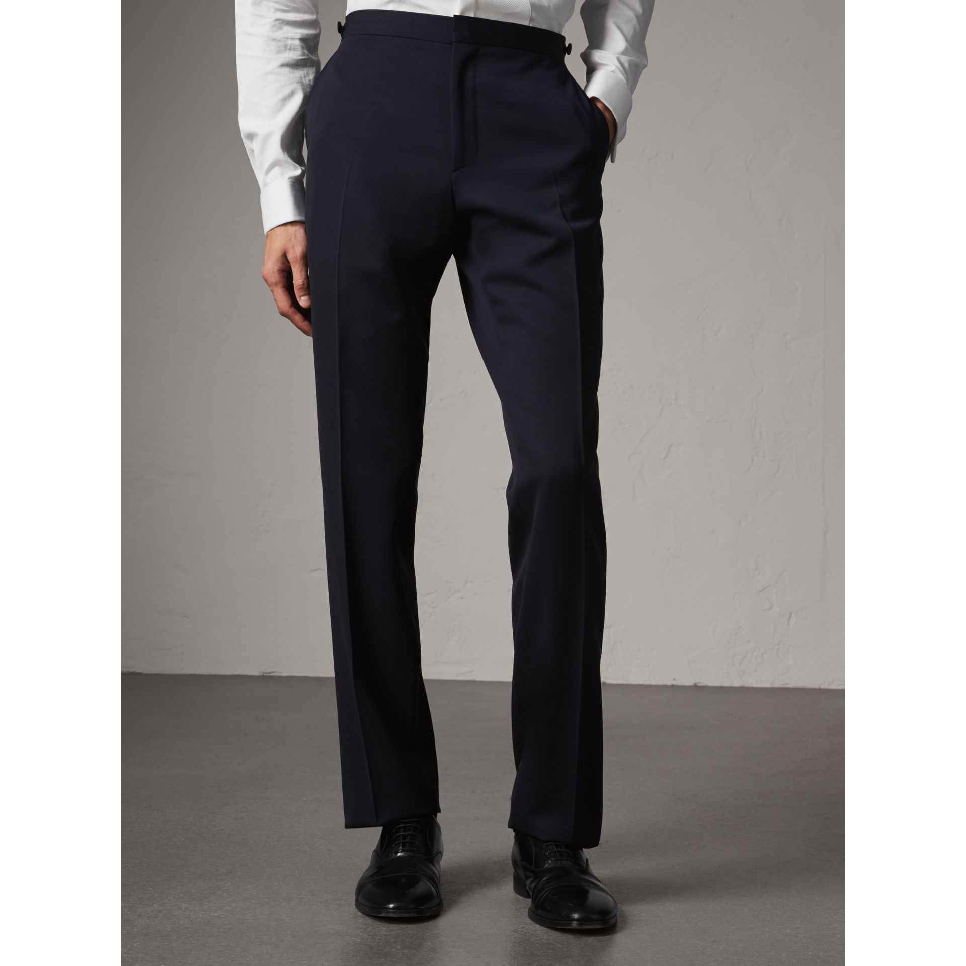 Modern Fit Virgin Wool Half-canvas Tuxedo in Navy - Men | Burberry United Kingdom - gallery image 7