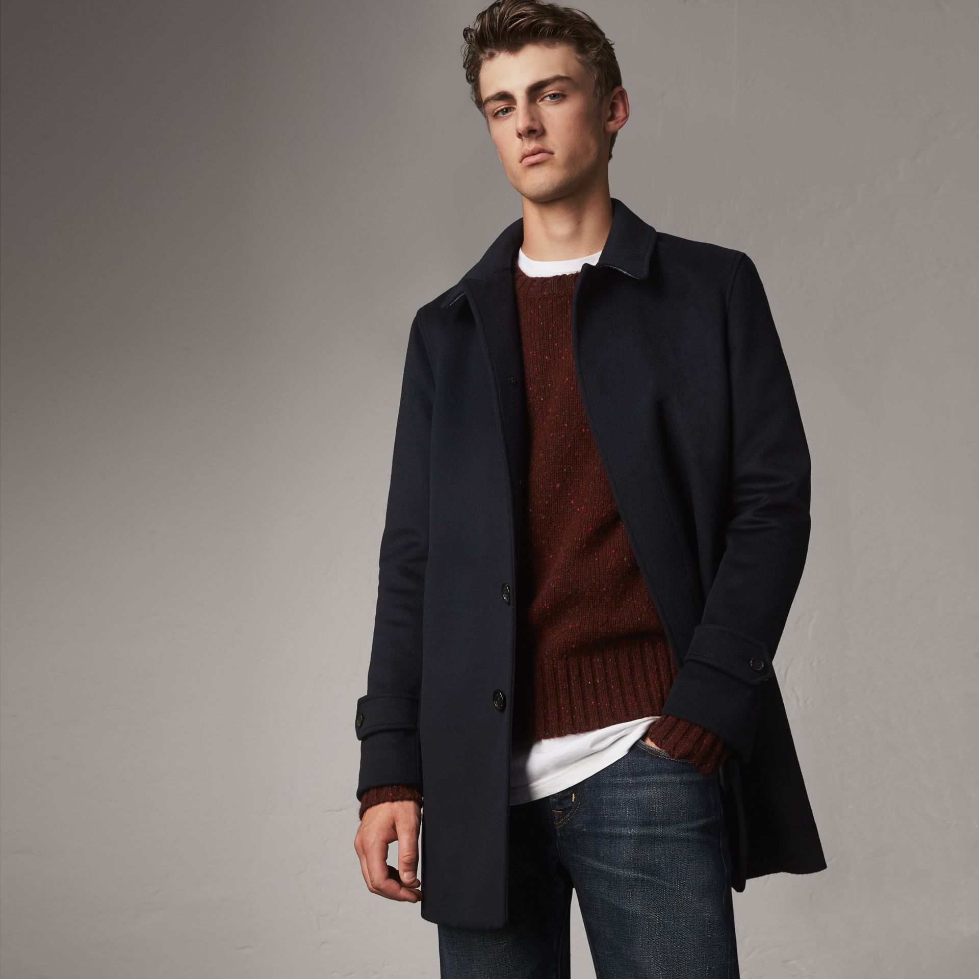 Wool Cashmere Car Coat in Navy - Men | Burberry Australia - gallery image 0