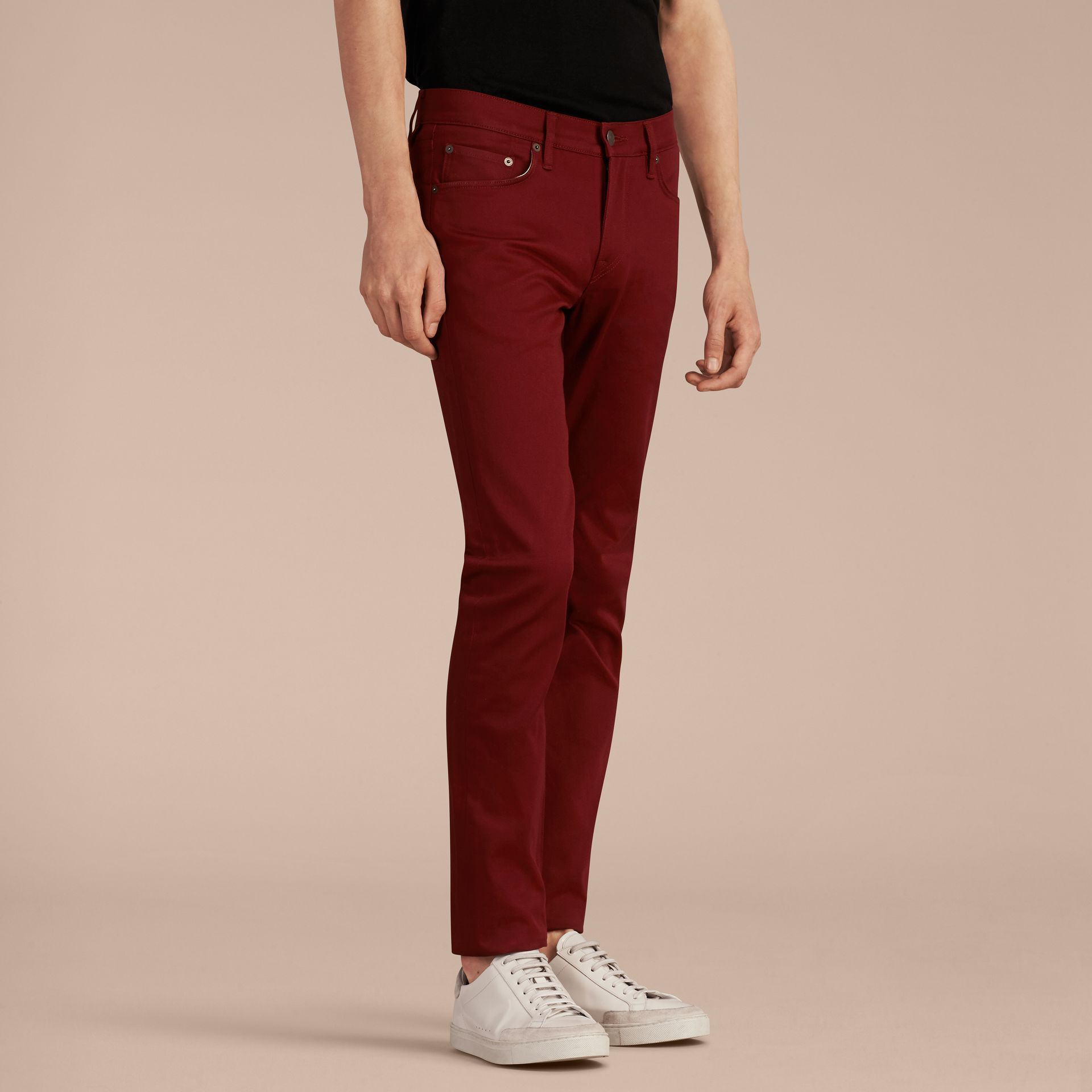 Dark red Slim Fit Japanese Stretch Denim Jeans Dark Red - gallery image 6