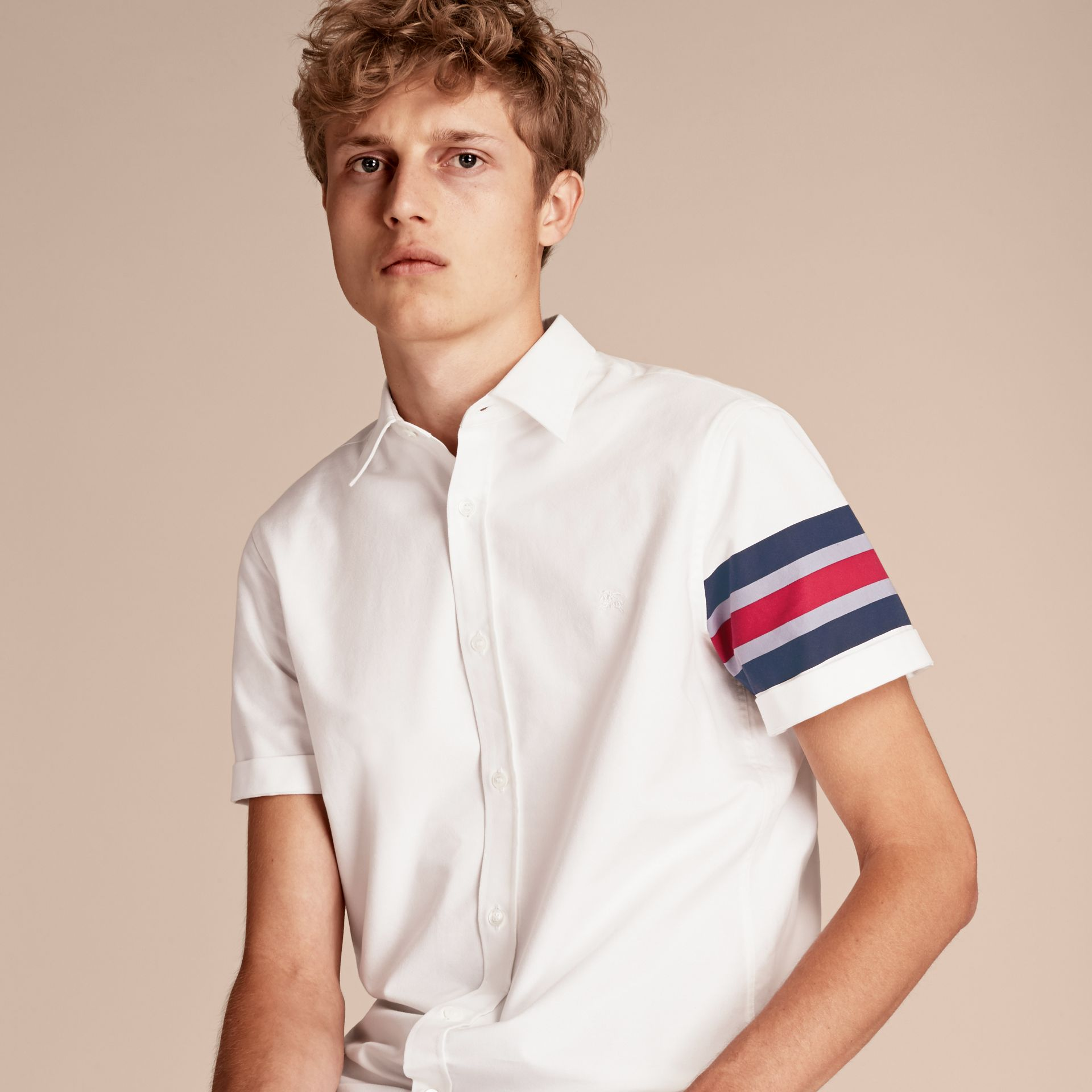 White Short-sleeved Oxford Cotton Shirt with Regimental Detail - gallery image 6