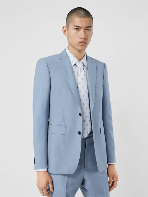 Classic Fit Wool Mohair Tailored Jacket in Pale Blue
