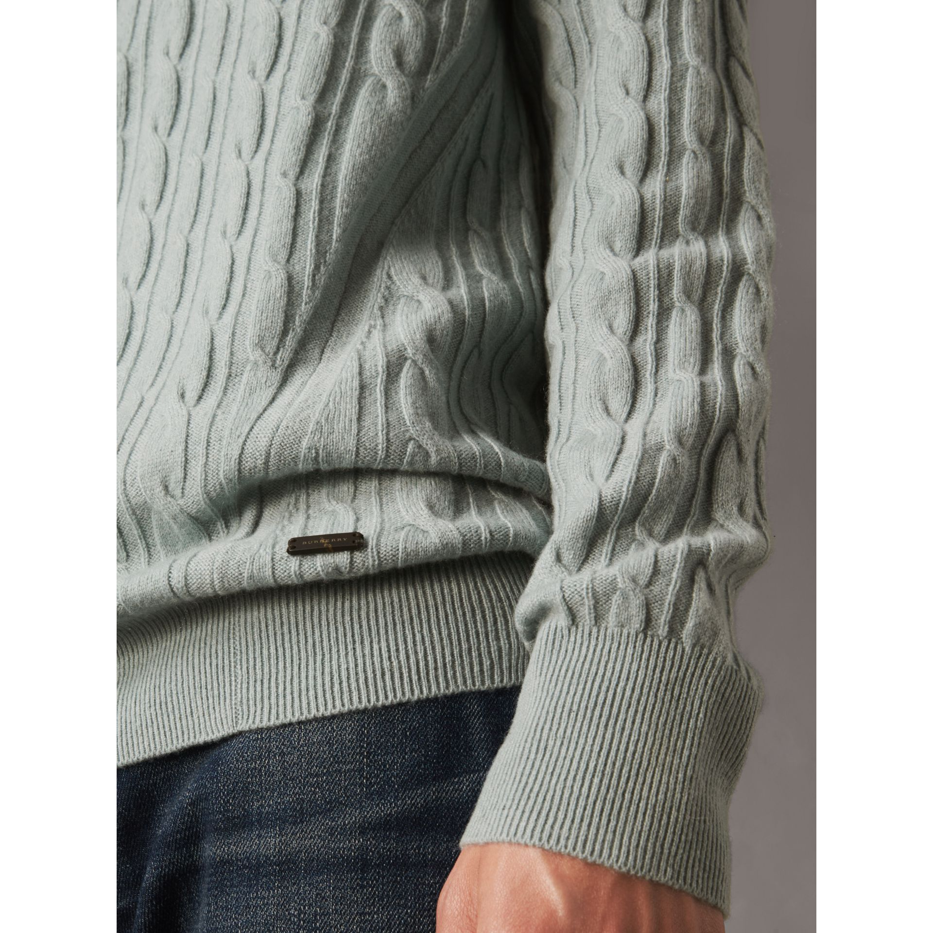 Cable and Rib Knit Cashmere V-neck Sweater in Powder Blue - Men | Burberry - gallery image 2