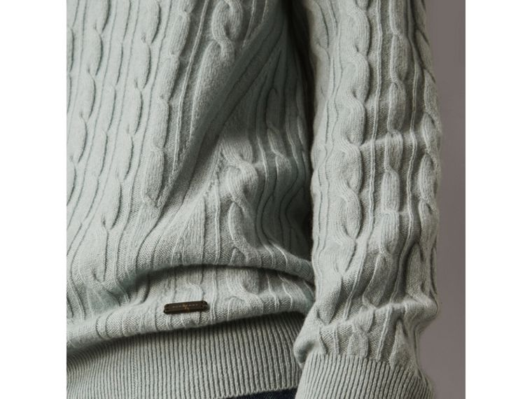 Cable and Rib Knit Cashmere V-neck Sweater in Powder Blue - Men | Burberry - cell image 1