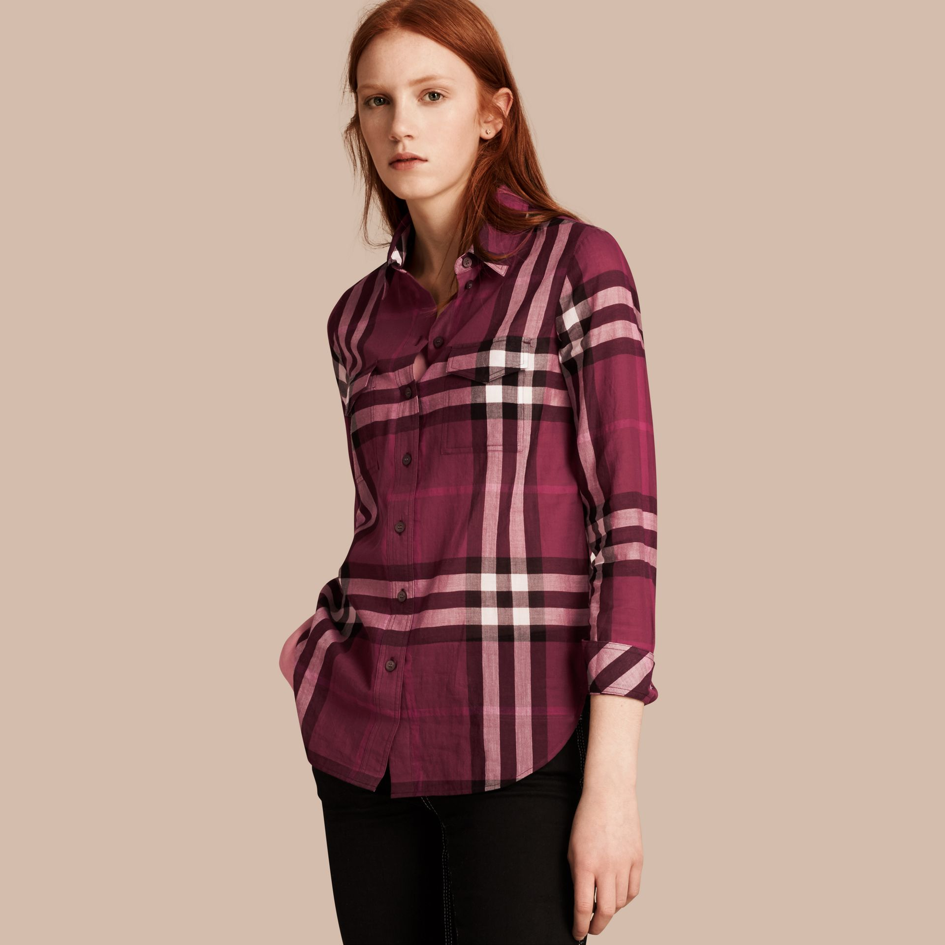 Magenta Check Cotton Shirt Magenta - gallery image 1
