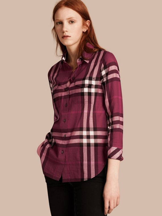 Check Cotton Shirt Magenta