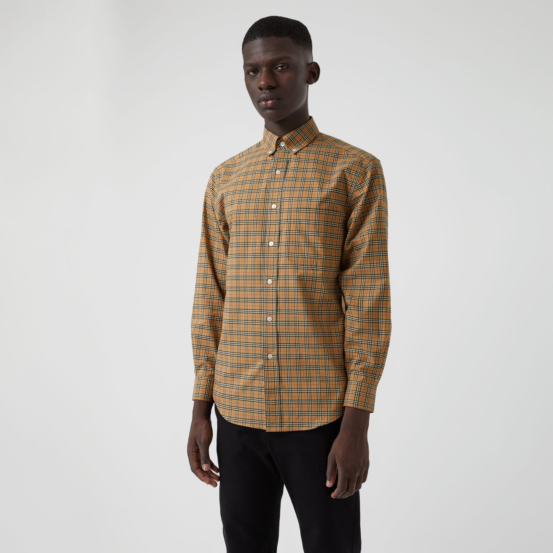 Small Scale Check Cotton Shirt in Antique Yellow - Men | Burberry Canada - gallery image 4