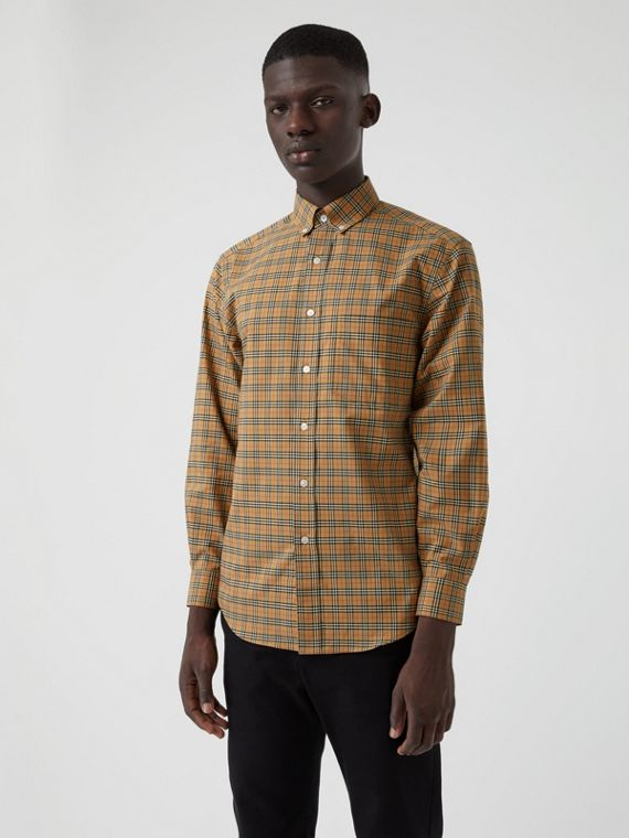 Small Scale Check Cotton Shirt in Antique Yellow