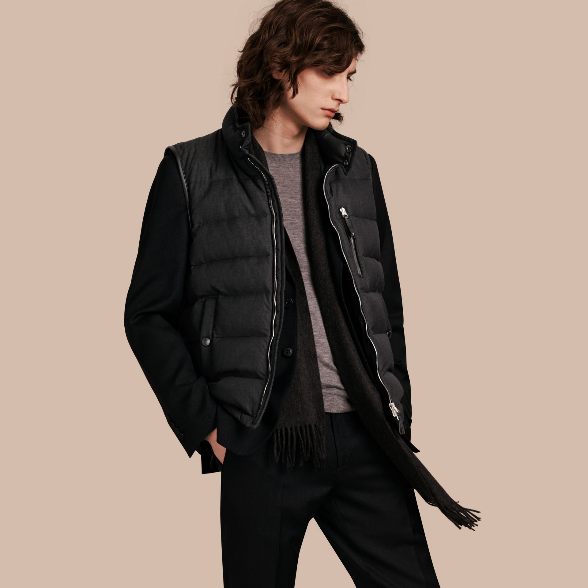 Charcoal Lambskin Trim Down-filled Silk Wool Gilet - gallery image 1