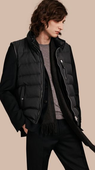 Lambskin Trim Down-filled Silk Wool Gilet