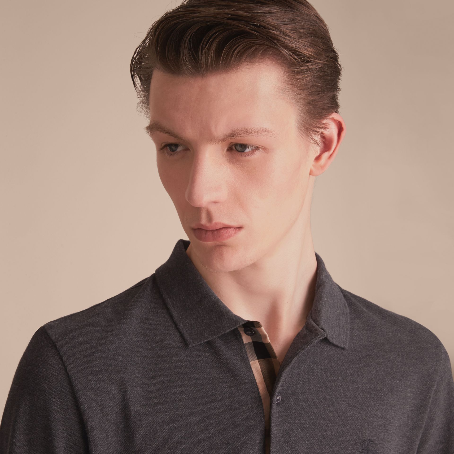Check Placket Long Sleeve Polo Shirt in Dark Charcoal Melange - Men | Burberry - gallery image 5