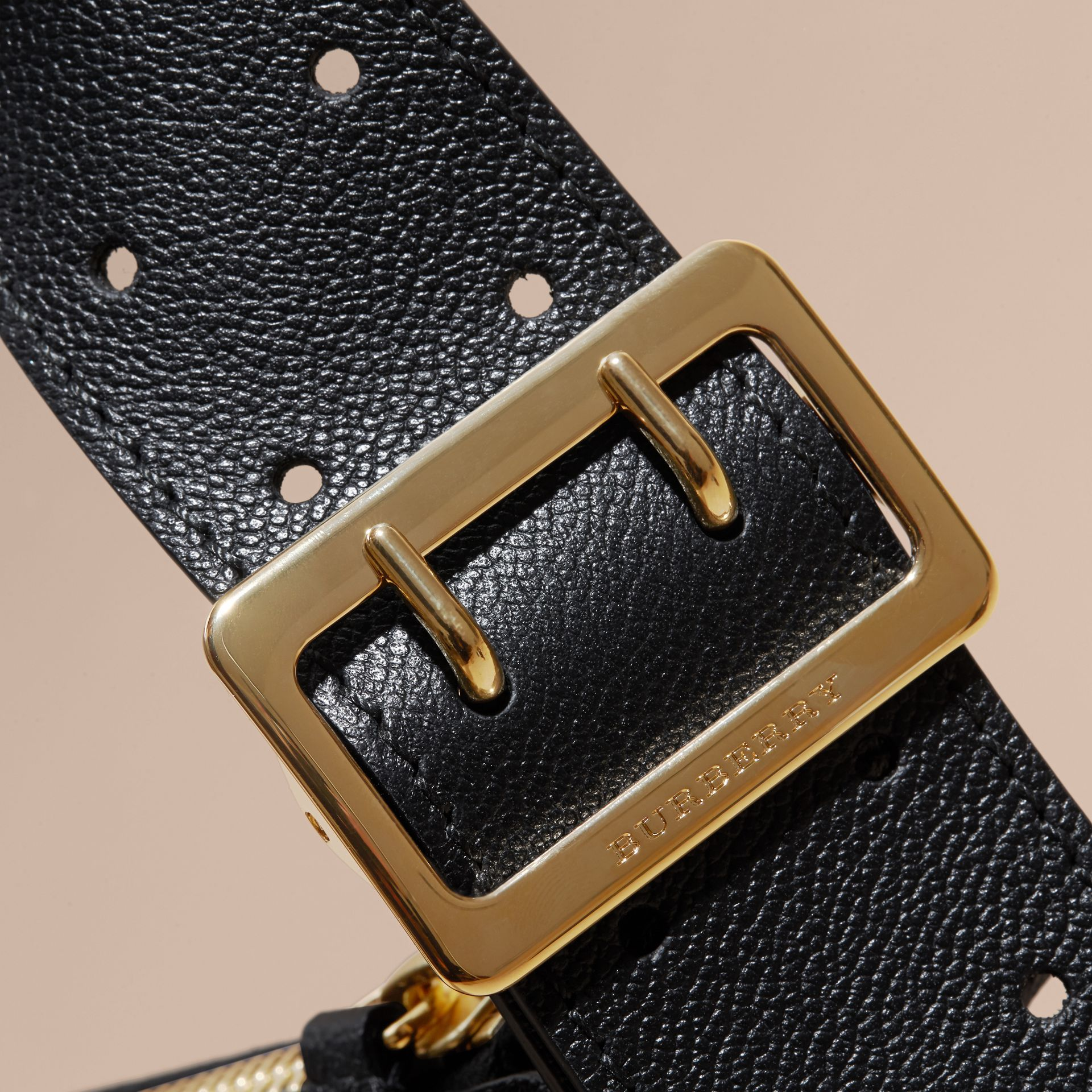 Buckle Detail Leather and House Check Crossbody Bag Black - gallery image 2