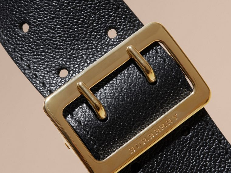 Buckle Detail Leather and House Check Crossbody Bag Black - cell image 1