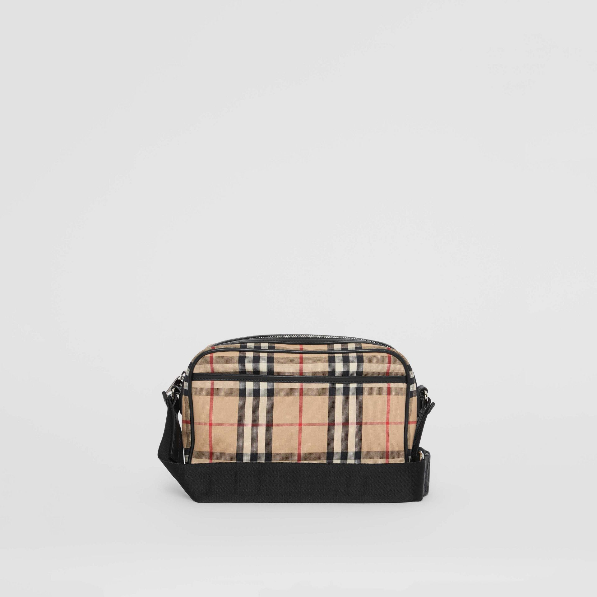 Vintage Check and Leather Crossbody Bag in Archive Beige - Men | Burberry Australia - gallery image 7