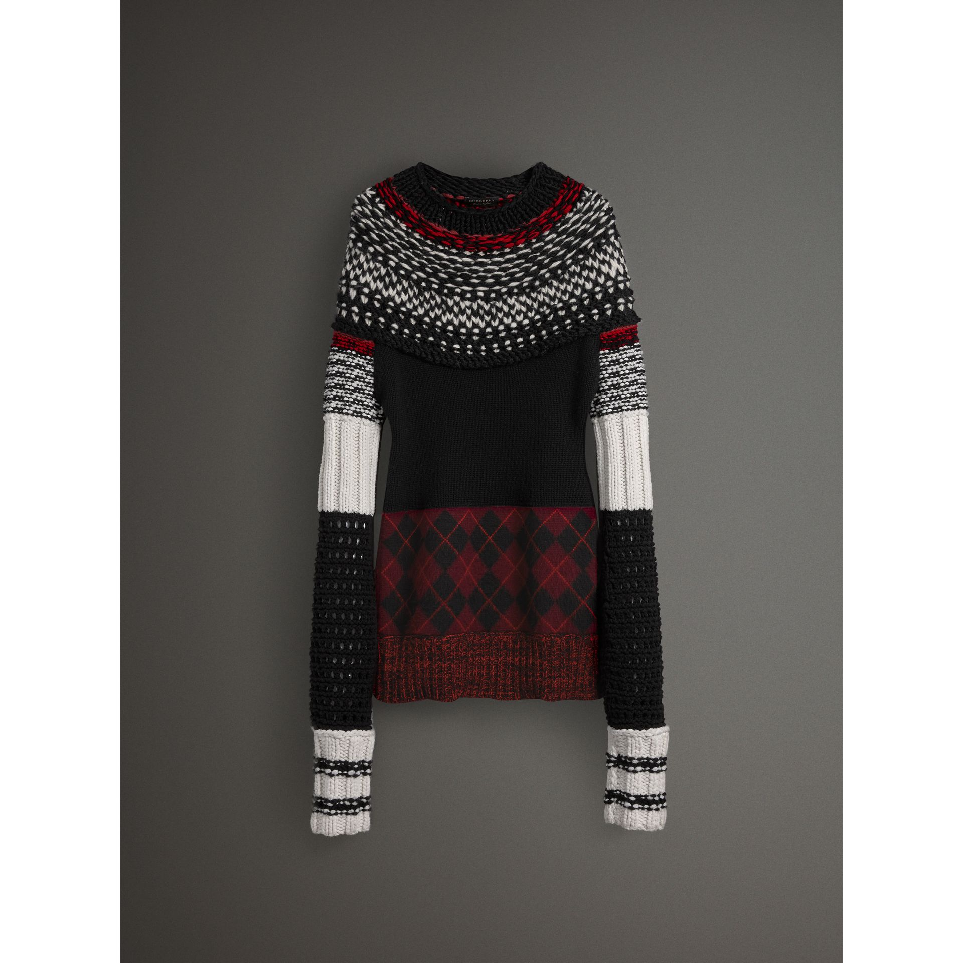 Hand-knitted Yoke Cashmere Wool Sweater in Black - Women | Burberry United Kingdom - gallery image 3