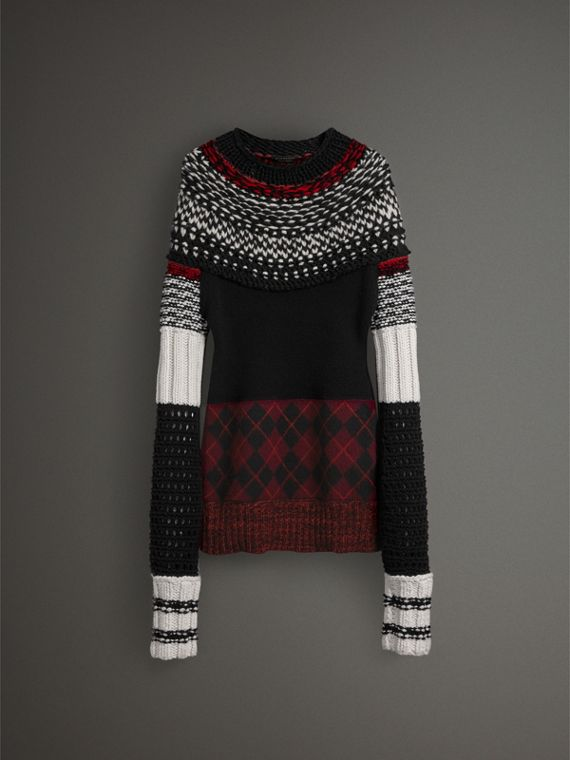 Hand-knitted Yoke Cashmere Wool Sweater in Black - Women | Burberry - cell image 3