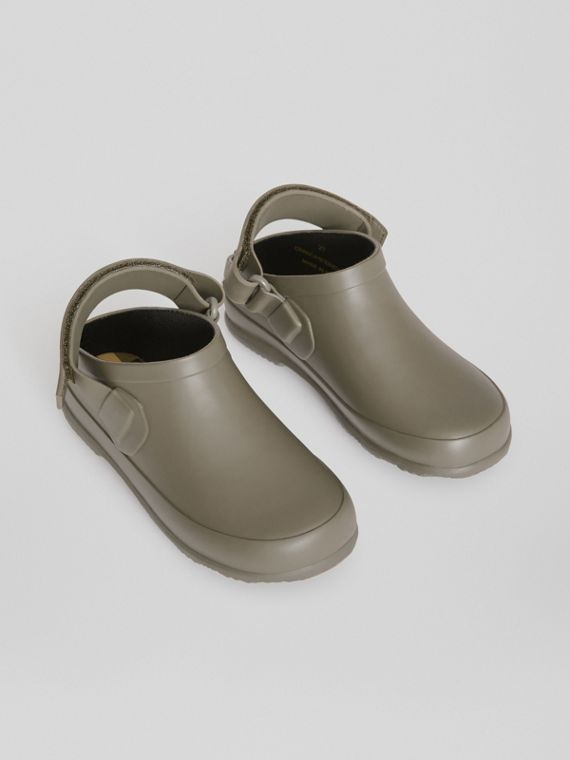 Check Detail Rubber Sandals in Dusty Olive