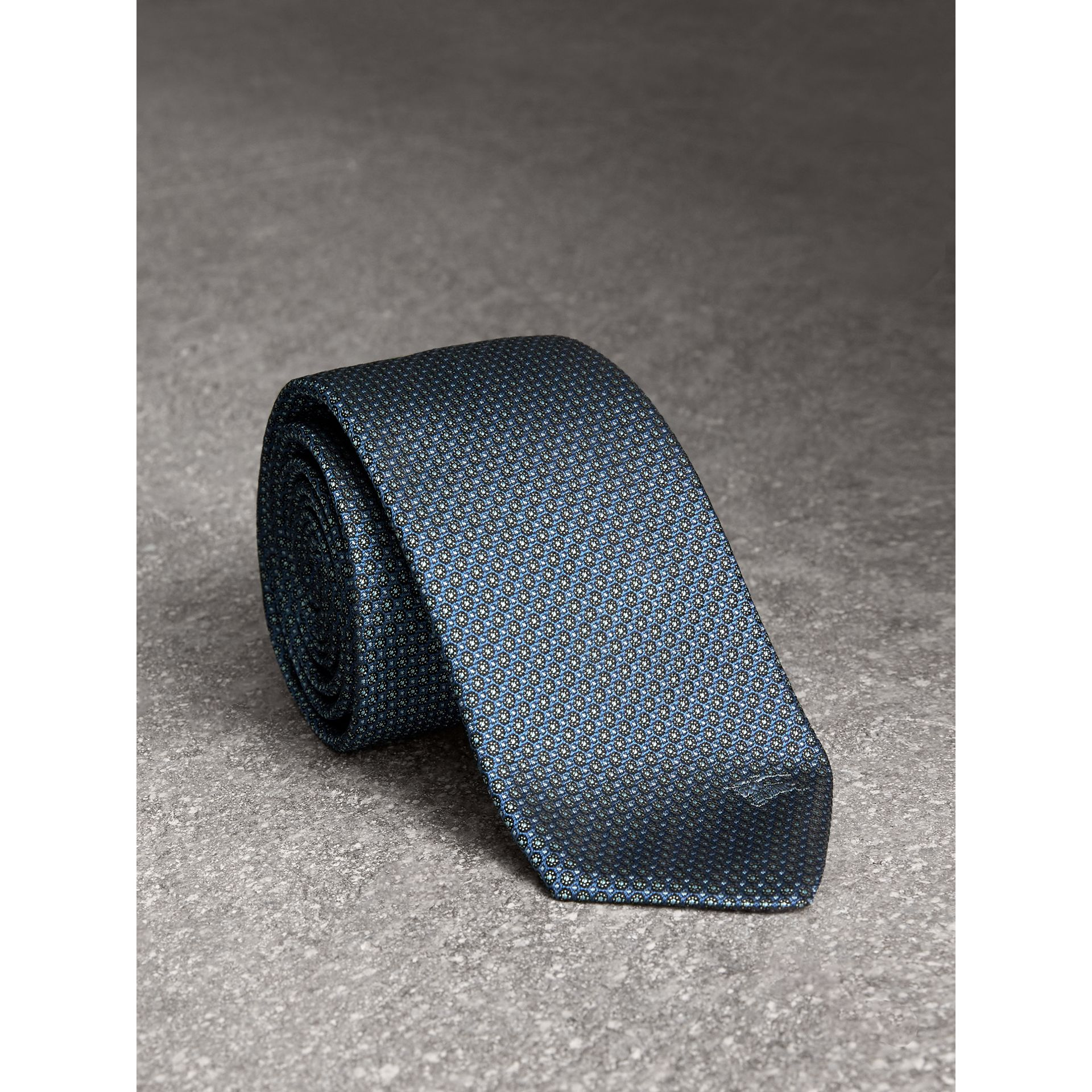 Modern Cut Patterned Silk Tie in Light Blue - Men | Burberry United States - gallery image 1