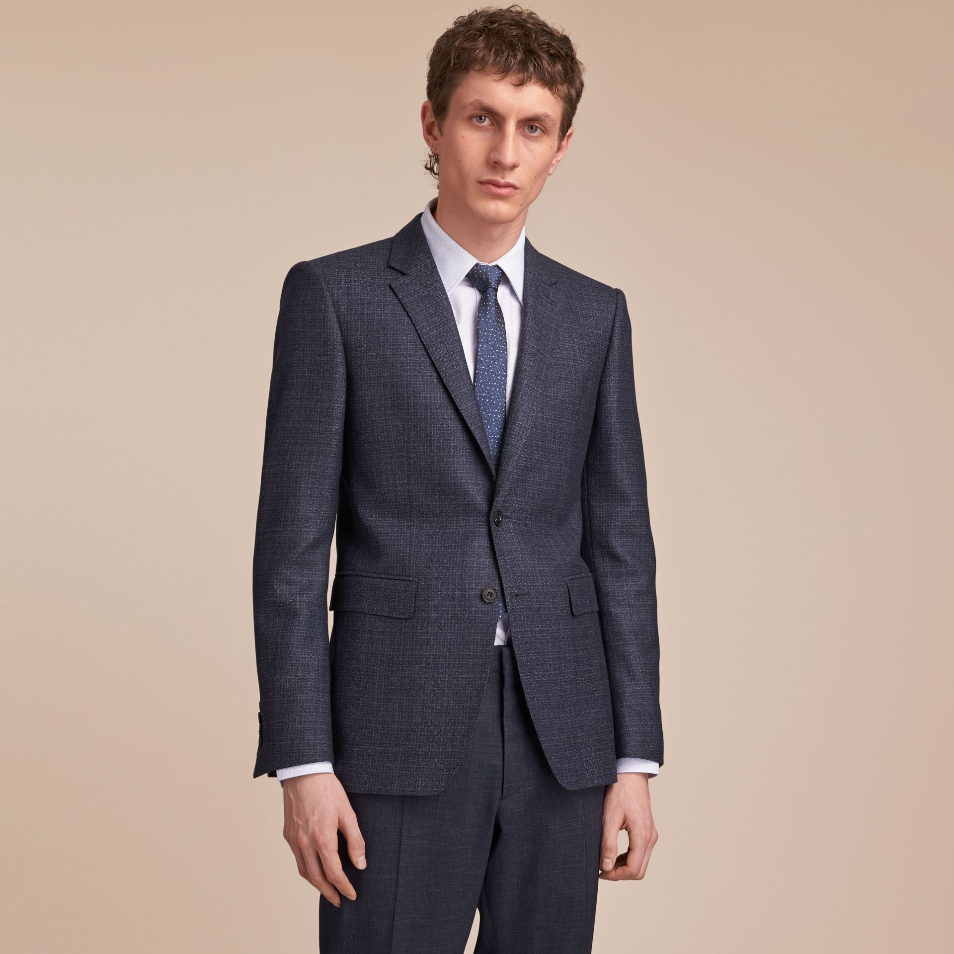 Slim Fit Lightweight Wool Part-canvas Suit in Bright Navy - Men | Burberry - gallery image 8