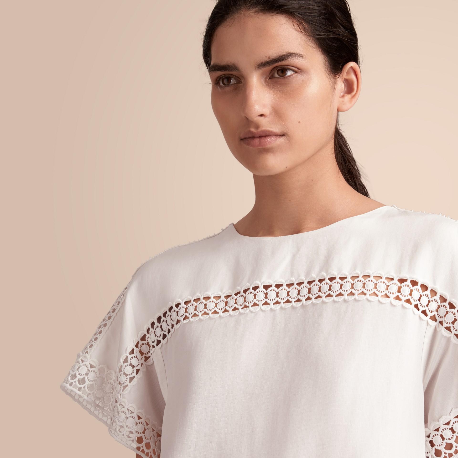 Macramé Lace Detail Silk Linen Cotton Dress - gallery image 5