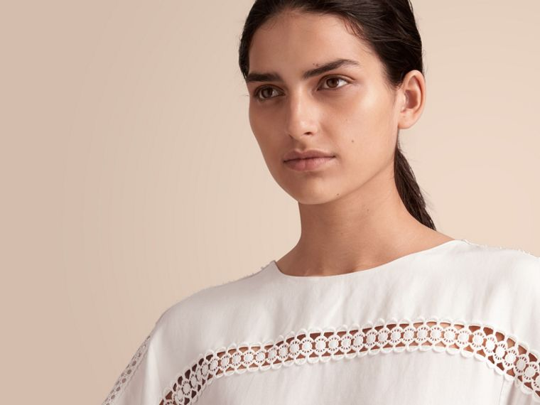 Macramé Lace Detail Silk Linen Cotton Dress - cell image 4