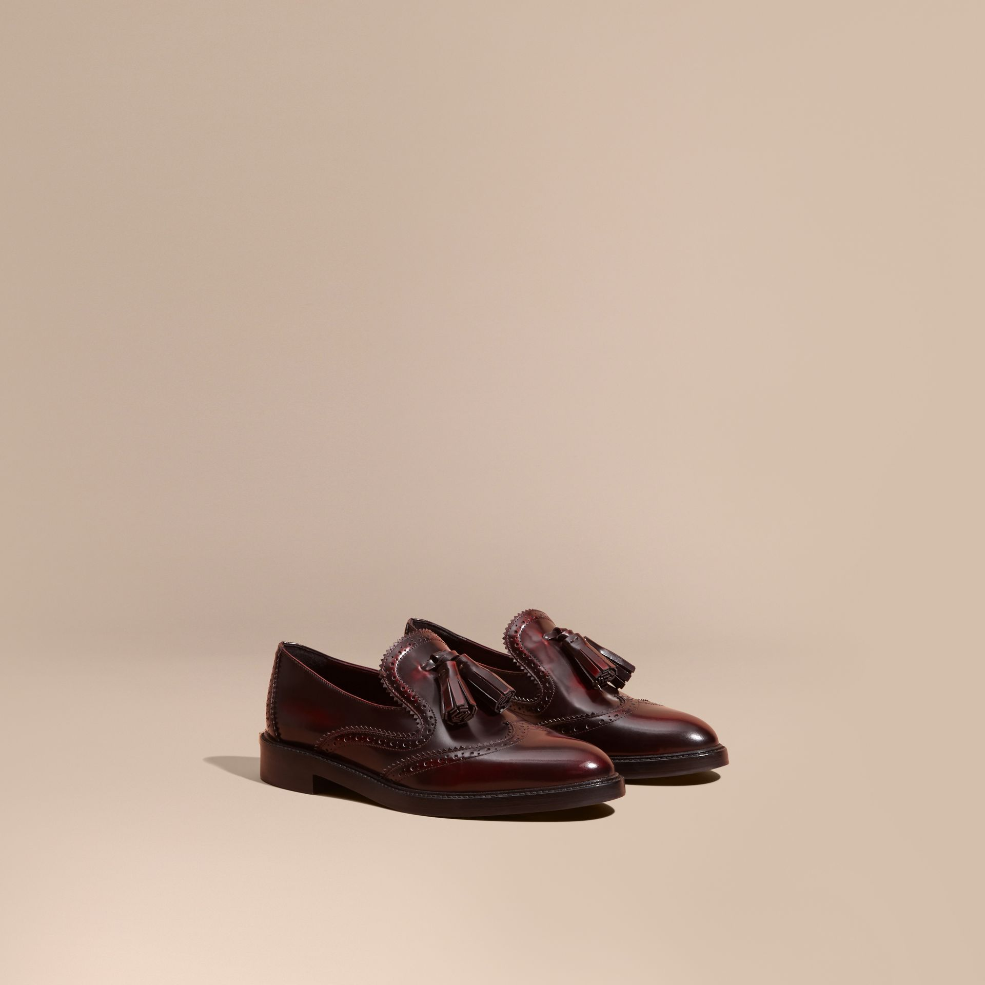 Bordeaux Dégradé Tassel Detail Leather Loafers - gallery image 1