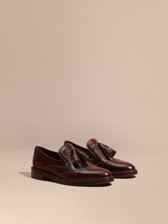 Dégradé Tassel Detail Leather Loafers Bordeaux
