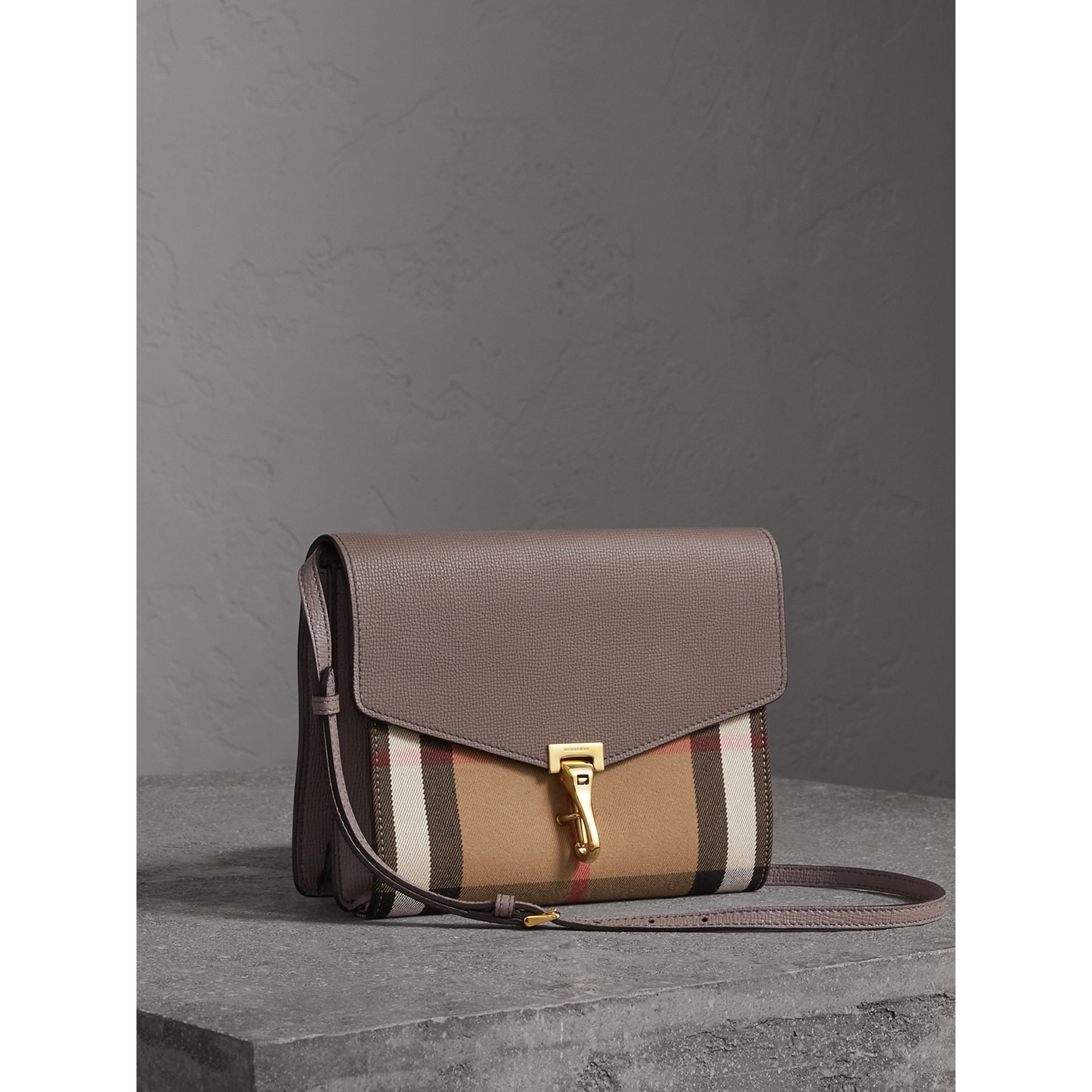 Small Leather and House Check Crossbody Bag in Thistle Grey - Women | Burberry Canada - gallery image 6