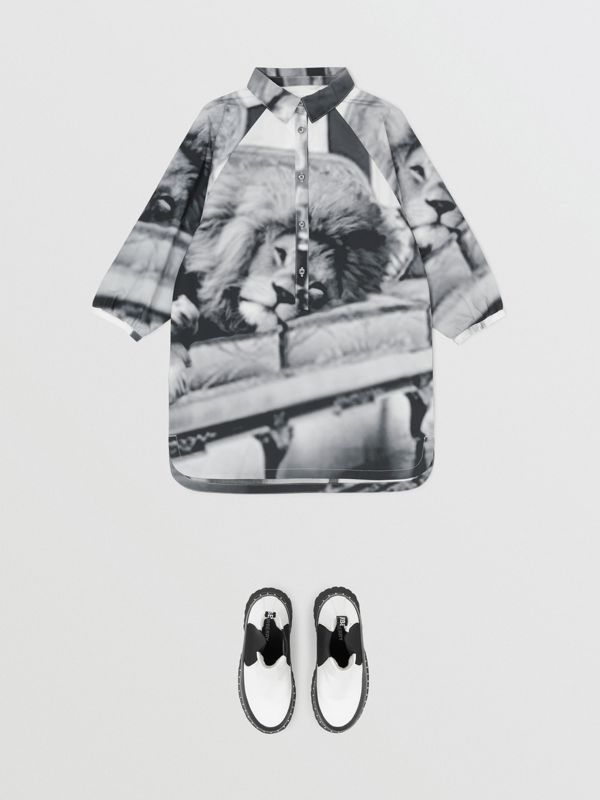 Vintage Photo Print Cotton Shirt Dress in Black - Children | Burberry United Kingdom - cell image 2