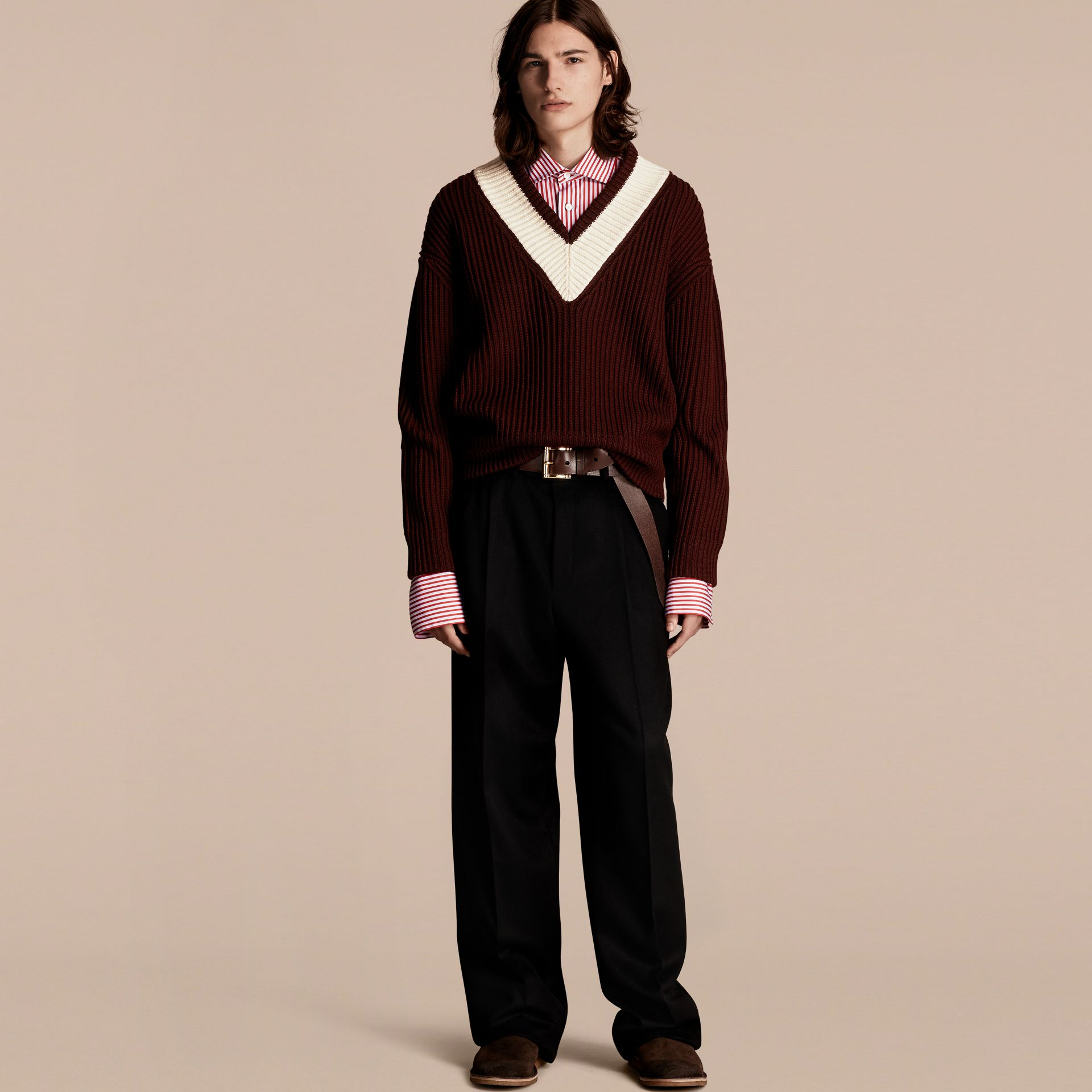 Deep burgundy/natural white Sports-striped Wool Sweater - gallery image 1