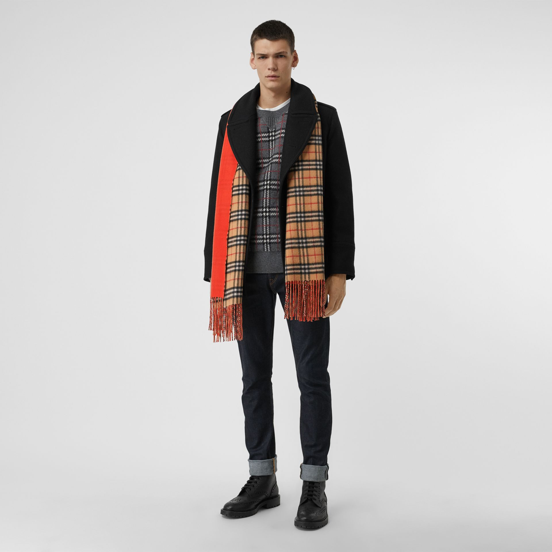 Colour Block Vintage Check Cashmere Scarf in Vibrant Orange | Burberry - gallery image 3