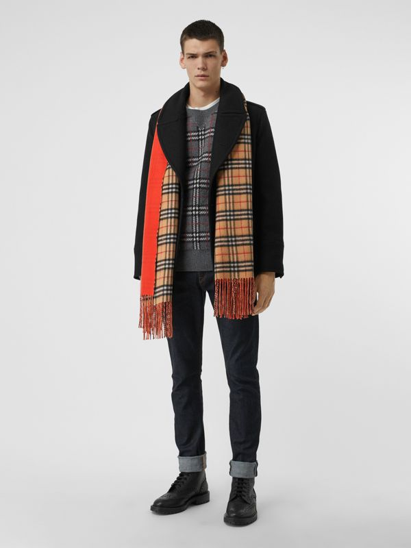 Colour Block Vintage Check Cashmere Scarf in Vibrant Orange | Burberry - cell image 3