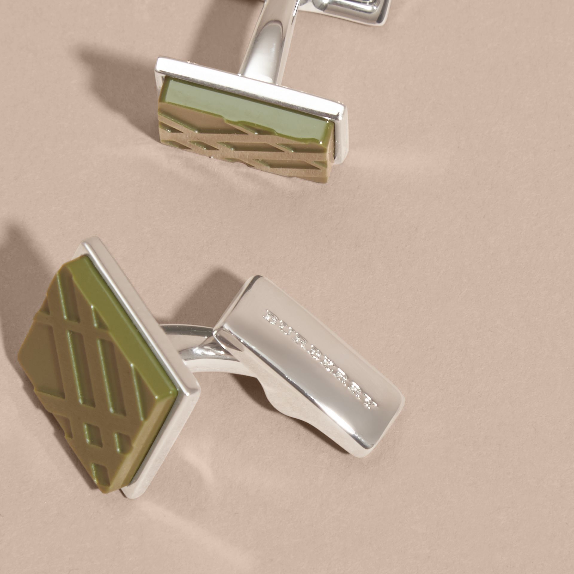 Check-engraved Square Cufflinks Antique Green - gallery image 3