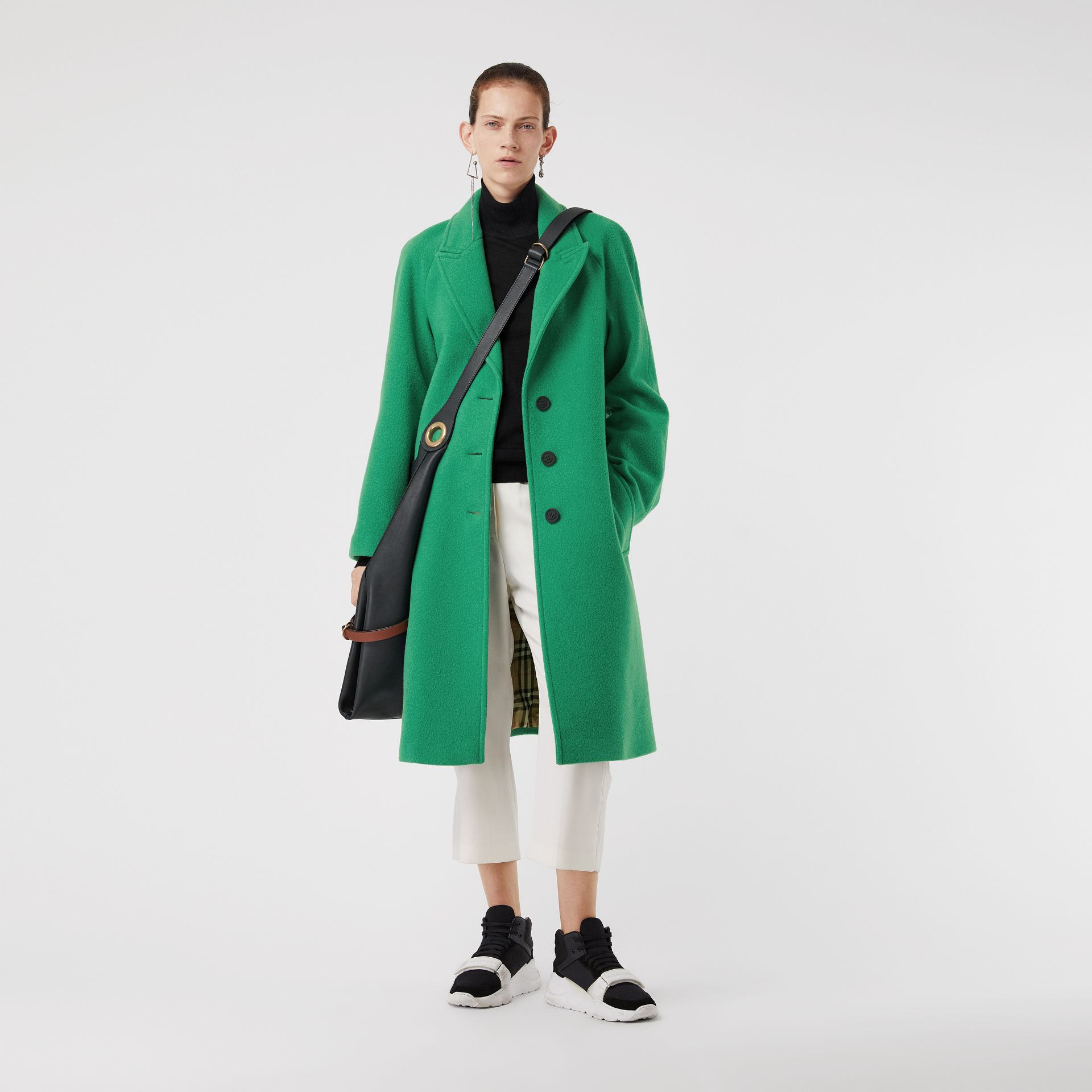 Wool Blend Tailored Coat in Bright Green - Women | Burberry United Kingdom - gallery image 0